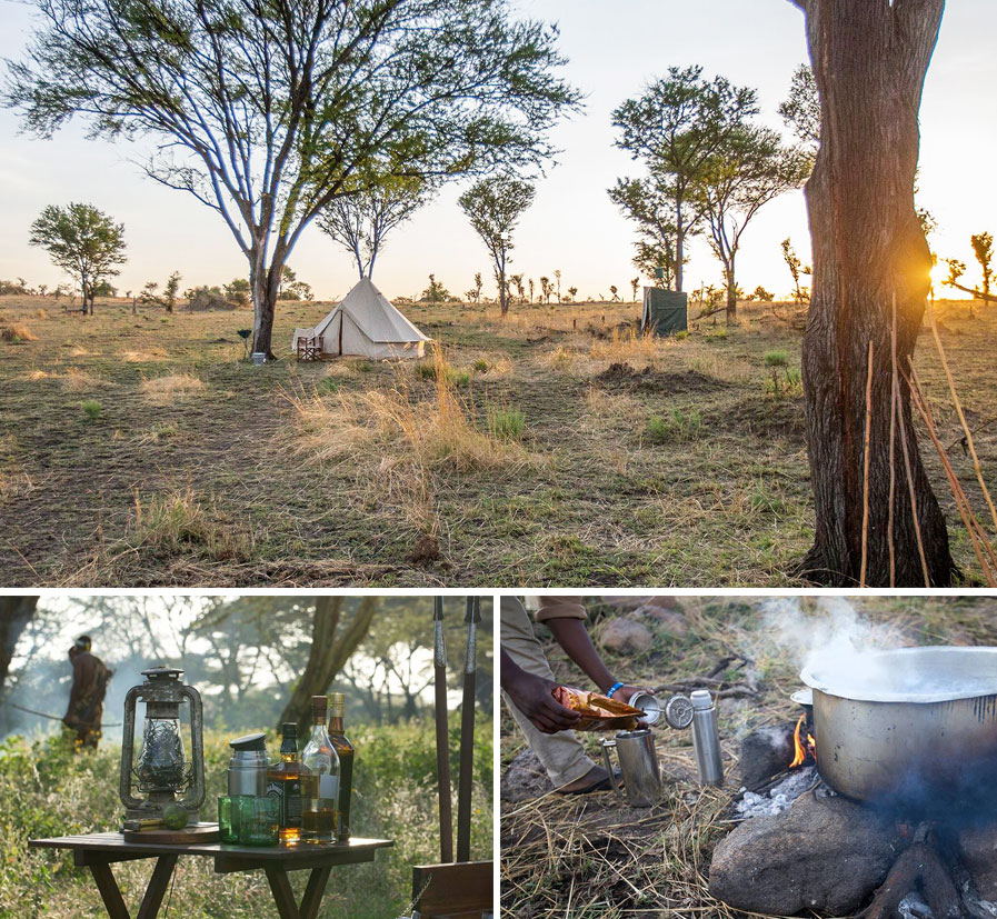 Wild at Heart Journeys Alex Walker Serian Serengeti Fly Camping Collage